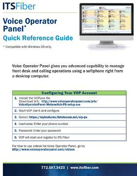 Voice Operator Panel Quick Guide
