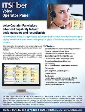 Voice Operator Panel Sales Sheet - thumnail